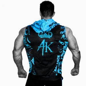 Mens Sleeveless Hoodie Black Blue
