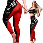 gym yoga leggings black red