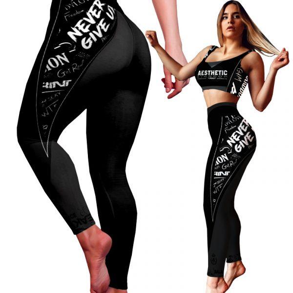 Gym Yoga Leggings Black and White