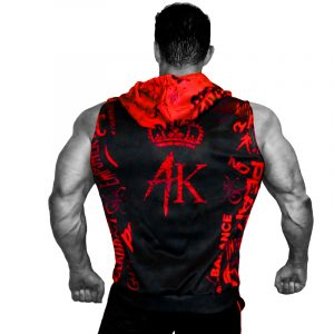 Mens Sleeveless Hoodies Black Red