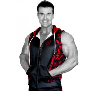 Mens Sleeveless Hoodie Black Red