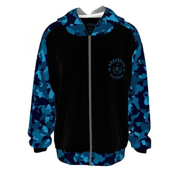 Unisex Camouflage Hoodie Blue