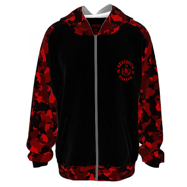 Unisex Camouflage Hoodie Red Black
